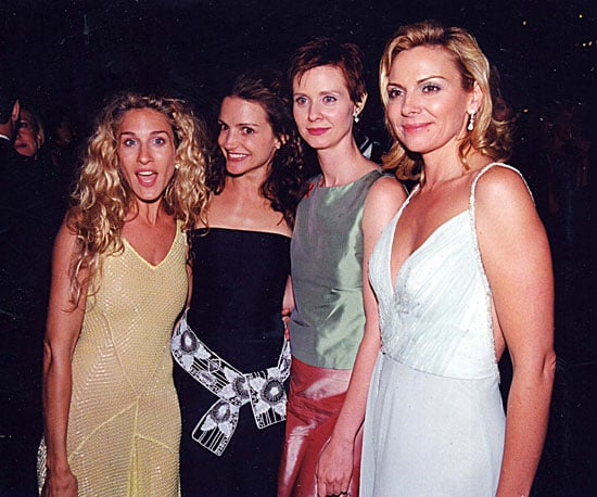 The ladies of Sex and the City, Sarah Jessica Parker, Kristin Davis, Cynthia Nixon, and Kim Cattrall, stuck together at the show in 1999.
