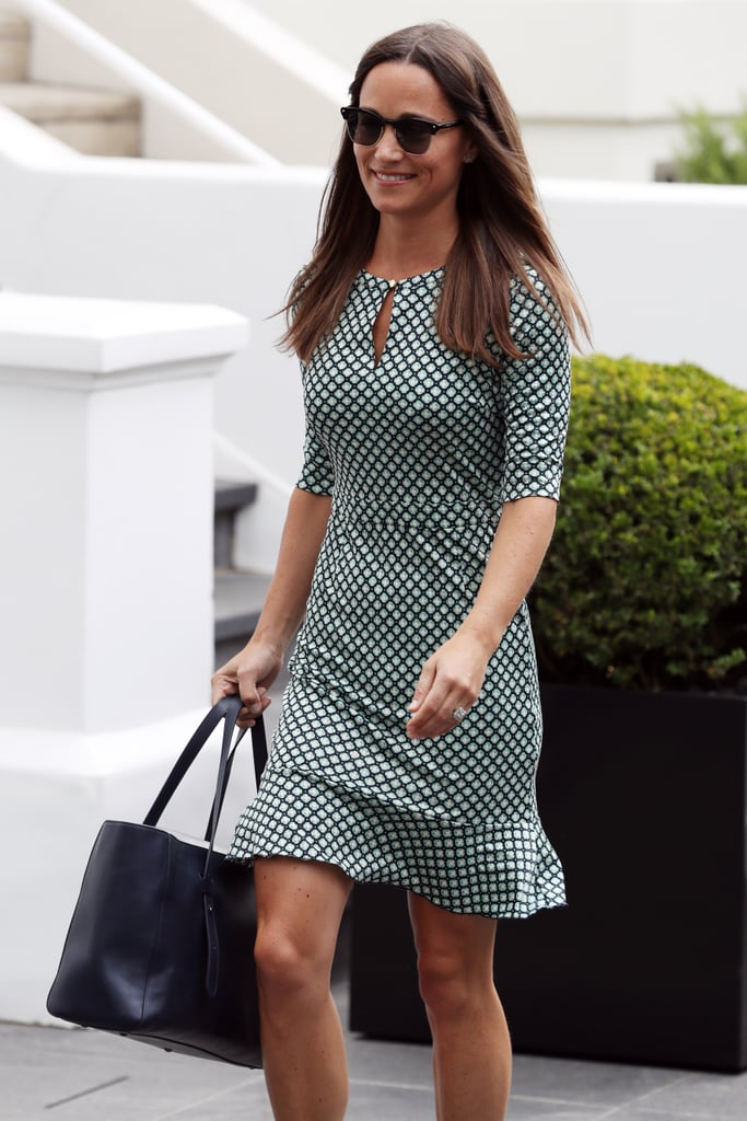 "Pippa Middleton was all smiles while stepping out in London on Thursday, and it's pretty obvious why: the Duchess of Cambridge's younger sister got engaged to her long-time boyfriend, James Matthews, earlier this week after the financier popped the question during a stroll through England's Lake District. We first got a glimpse of Pippa's gorgeous new ring when she left her home on Tuesday, and despite the diamond's size, somehow Pippa is still walking on air. The only snag? Pippa's sister, Kate, may opt out as a member of her wedding party — People reports that it's a ""tricky situation"" and that Kate wouldn't want to ""upstage her sister"" by being her royal maid of honour. Veteran royals author Judy Wade added, ""Kate would want to be in the background as much as possible."""