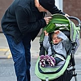 Matt Damon checked on Stella in her stroller.