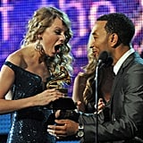 The look on Taylor Swift's face said it all when she was presented with one of four trophies during the 2010 awards.