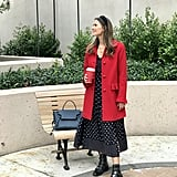 Red Wool Coat: Headed to Work in a Printed Dress and Combat Boots