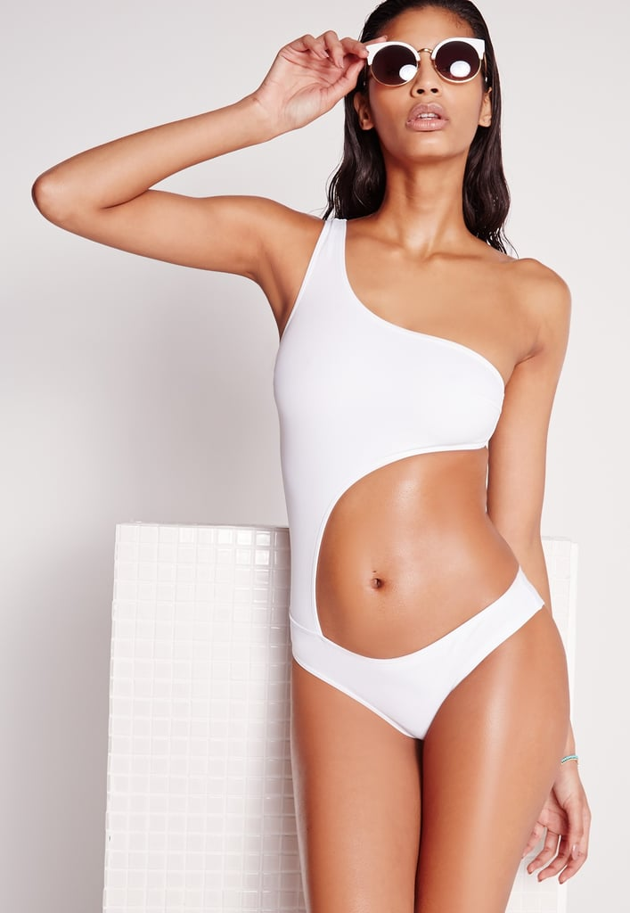 Missguided Cut Out One Shoulder Swimsuit White ($37)