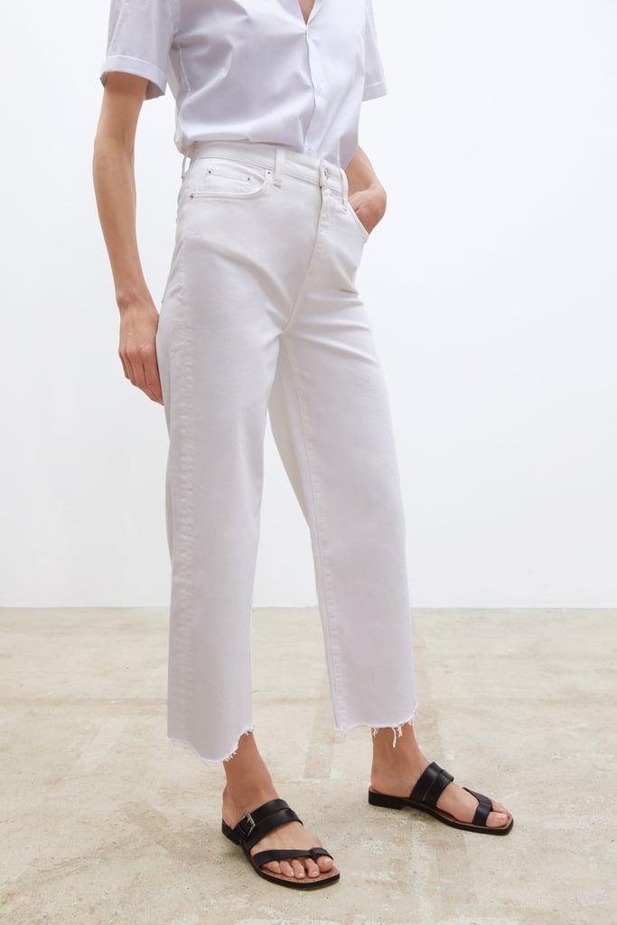 Zara ZW Premium HW Culotte Jeans in White