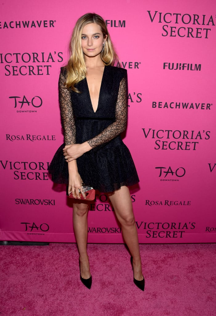 """At the afterparty, Bridget stunned in an LBD by Australian designer Alex Perry. She posted a shot of her lacy look on Instagram, writing, """"Repping Aus in @alexperryofficial last night on the @victoriassecret pink carpet."""""""