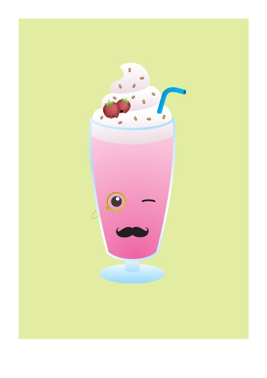 Does it get any more fun than this mustache milkshake print ($15)?