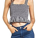 BP. Smocked Gingham Crop Tank