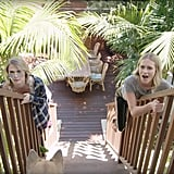 Here they are, casually sliding down the railing to their back deck à la Mary Poppins.