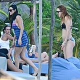 Demi and Rumer walked on the beach.