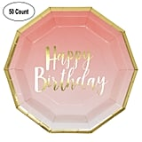 Pink and Gold Birthday Party Plates