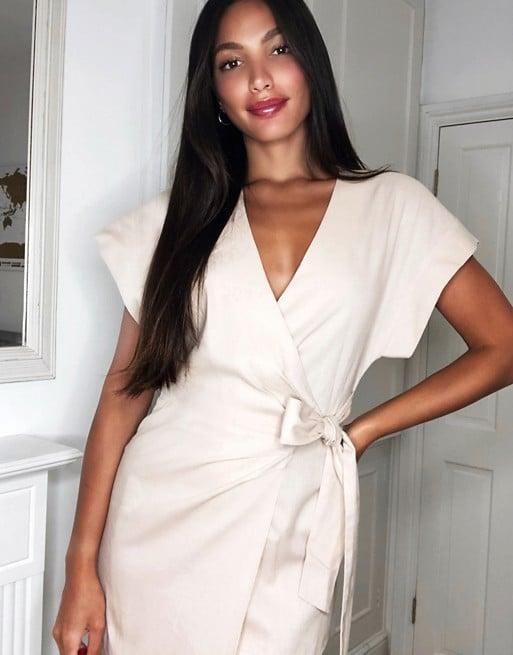 ASOS Linen Wrap Midi Dress