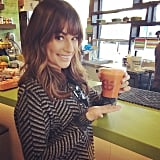 Lea Michele kept it healthy with a smoothie.