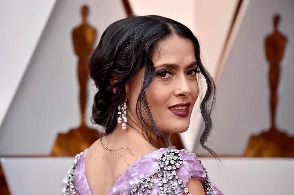 Salma Hayek Purple Gucci Dress at Oscars 2018