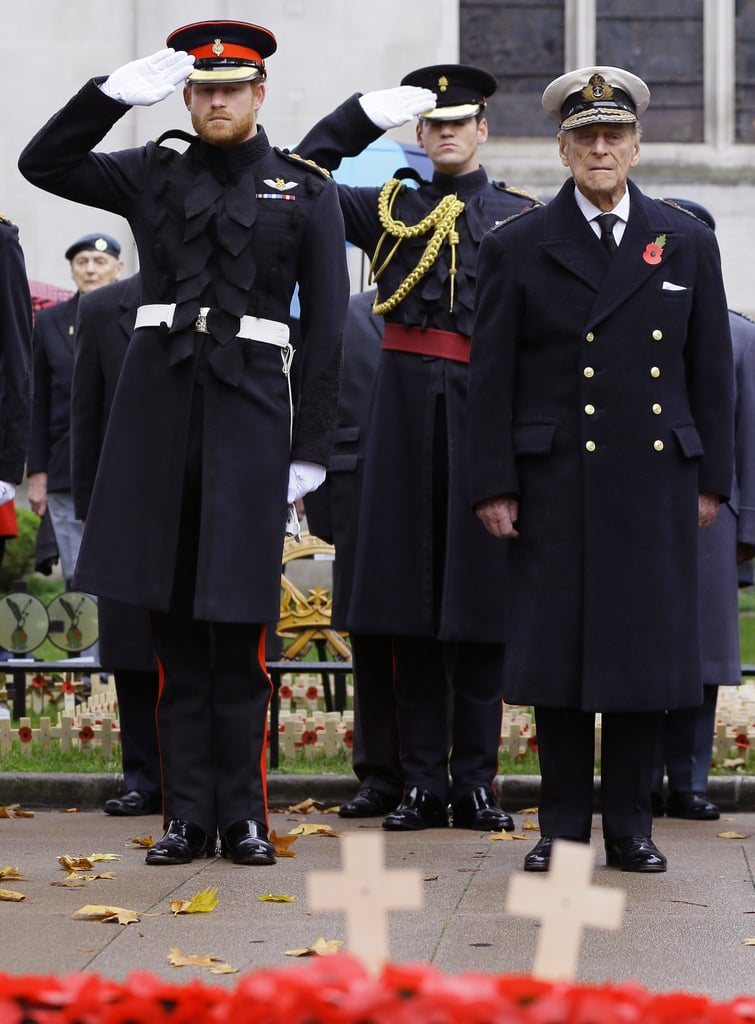 Harry and Philip stood side by side during a Remembrance service in November 2015.