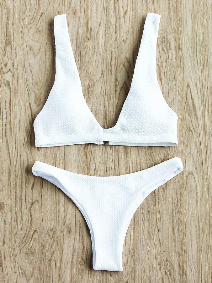 789df99303 Shein Textured Design Plunge Neck Bikini Set | Cheap Bikinis 2018 ...