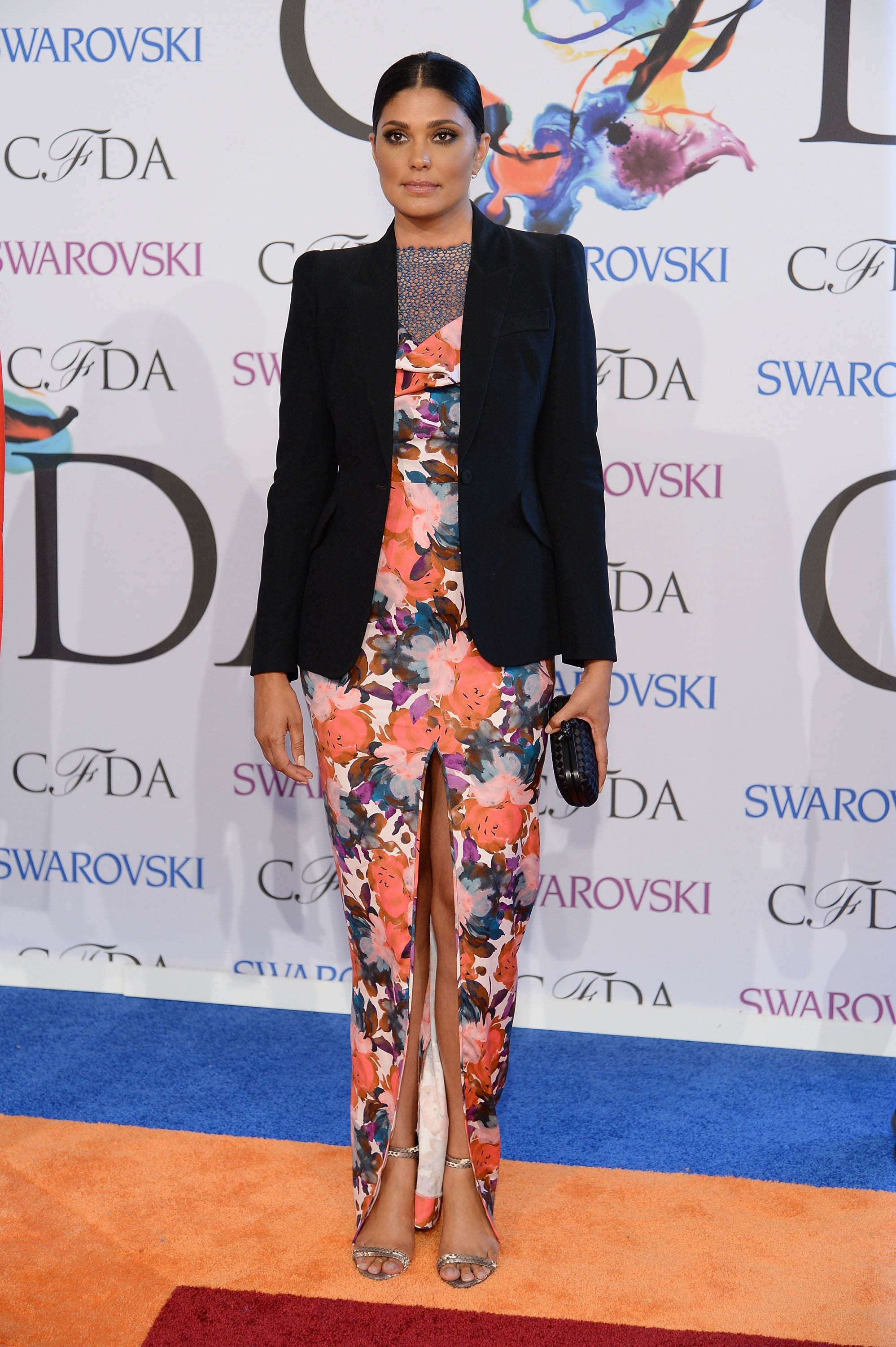 Rachel Roy arrived in a printed dress.