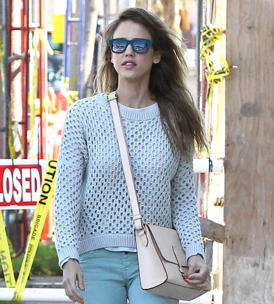 Jessica Alba completed her stylish ensemble with teal Italia Independent wayfarers during a sunny day out in LA. Jump on these Toms teal marine sunglasses ($88) to get Jessica's look.