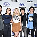 Pictured: Devon Bostick, Lindsey Morgan, Eliza Taylor, Christopher Larkin, Bob Morley, and Richard Harmon.