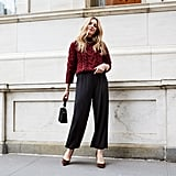 Affordable & Festive Outfit Formula: Jumpsuit + Sweater + Heels + Bag + Jewelry