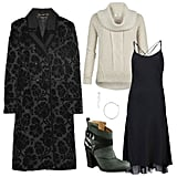 """On the days where you feel like keeping it simple (read: exercising your right to layer like a pro), try this sweet combo: chunky turtleneck + long, flowy slipdress. It's a cool juxtaposition of heavier """"outerwear"""" against sexy underthings. Get the look:   AllSaints Repose Funnel Pullover ($150)  Rag & Bone Teo Cami Dress ($595)  Gucci Double-Breasted Thistle Jacquard Coat ($6,995)  Michael Kors Whisper Medium Hoop Earrings ($45)  Belle by Sigerson Morrison Leather Buckle Ankle Boots ($450)"""