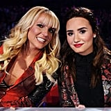 Britney Spears smiled at the camera with fellow X Factor judge Demi Lovato. Source: Instagram user britneyspears