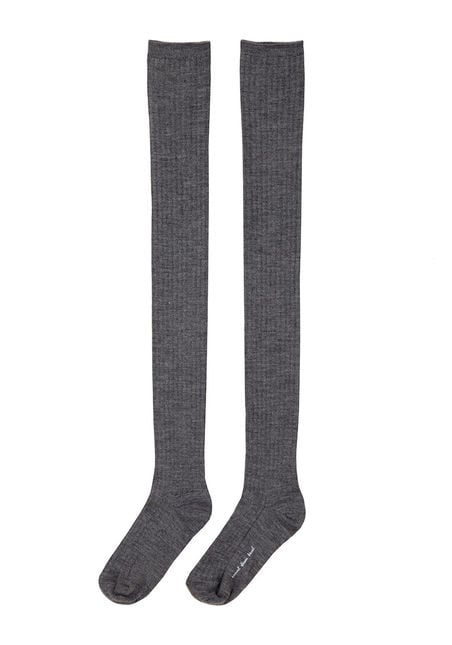 Since these Hansel From Basel thigh-high socks ($32) prove much longer, you can play with the proportions of the rest of your outfit. We love the idea of scrunching these a bit, especially because the ribbed finish provides additional texture from every angle.