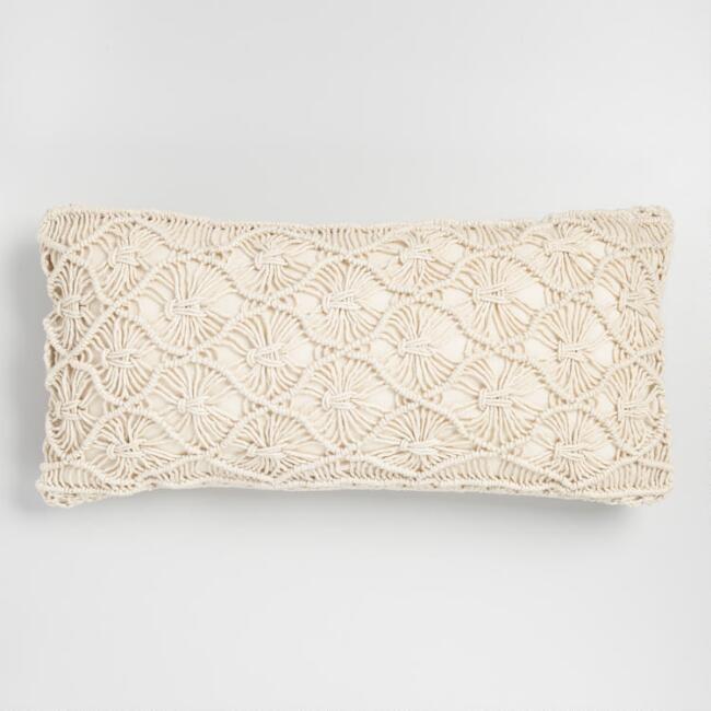 Natural Macrame Indoor Outdoor Lumbar Pillow