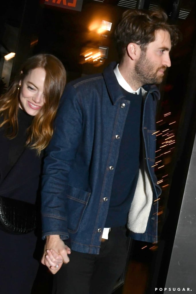 Emma Stone and Dave McCary have the look of love! On Dec. 7, the newly engaged couple cozied up while heading to a Saturday Night Live afterparty in New York City. Emma, who rocked a navy coat with boots, looked especially smitten as she flashed a bright smile alongside Dave, who wore a jean jacket with dark pants.  Their outing came a few days after the La La Land actress and the SNL writer — who began dating in October 2017 — announced their engagement on Instagram. Dave shared a sweet snapshot of Emma cuddling with him and showing off her gorgeous engagement ring. In honor of the exciting news, look ahead to see more pictures from their date night!      Related:                                                                                                           Wedding Bells Are Ringing! 55 Celebrity Couples Who Are Headed Down the Aisle