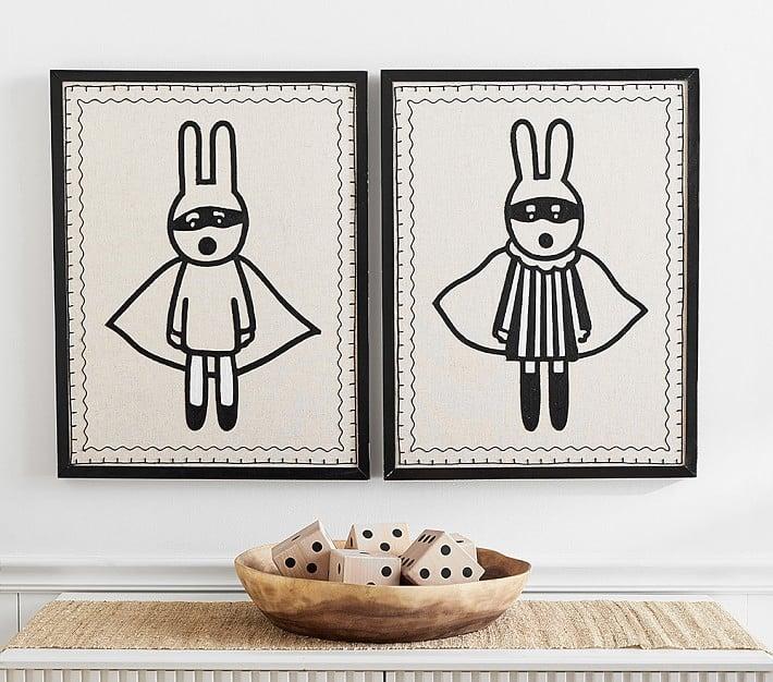 Linen and Crewel Bandit Art