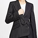 Monse Two Tone Pinstripe Asymmetrical Blazer