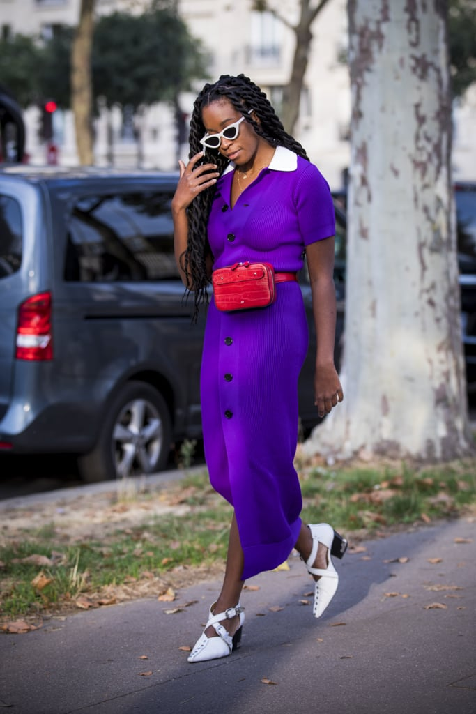 Let your belt bag add another pop of color to a vibrant midi dress.