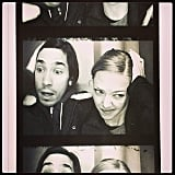 Amanda Seyfried and Justin Long got silly in a photo booth. Source: Instagram user mingey
