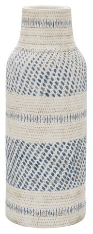 Threshold Earthenware Tall Cream/Blue Vase