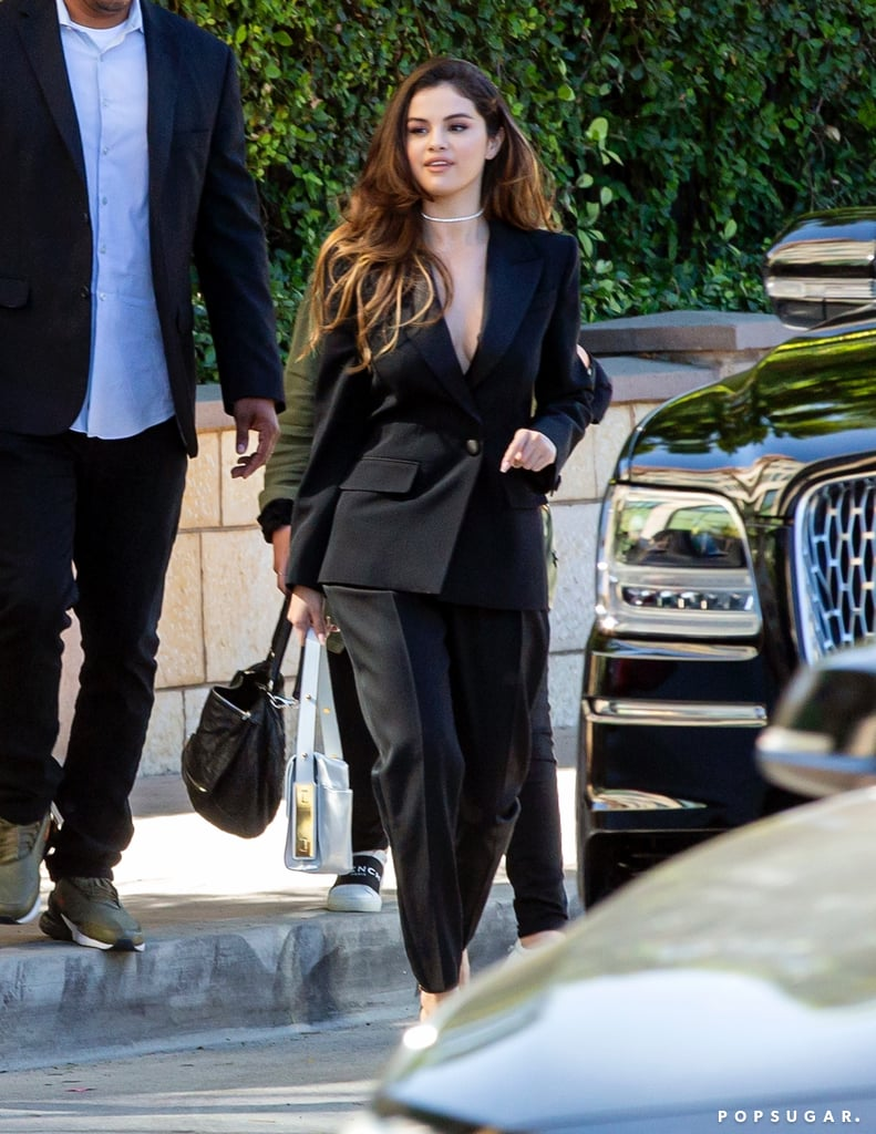 Selena Gomez Wearing a Givenchy Black Suit