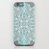 Teal and Aqua Lace Mandala on Grey ($35)