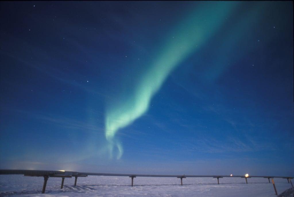 Milne Point, AK, enjoyed a stunning view of the aurora borealis in November 2002.