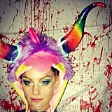We're not sure what Jessica Stam's Halloween costume was, but it sure was colorful. Source: Instagram user jess_stam