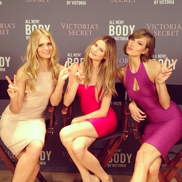 Erin Heatherton, Behati Prinsloo, and Karlie Kloss sported sexy fittest dresses to promote Victoria's Secret's new collection in NYC. Source: Instagram user victoriassecret