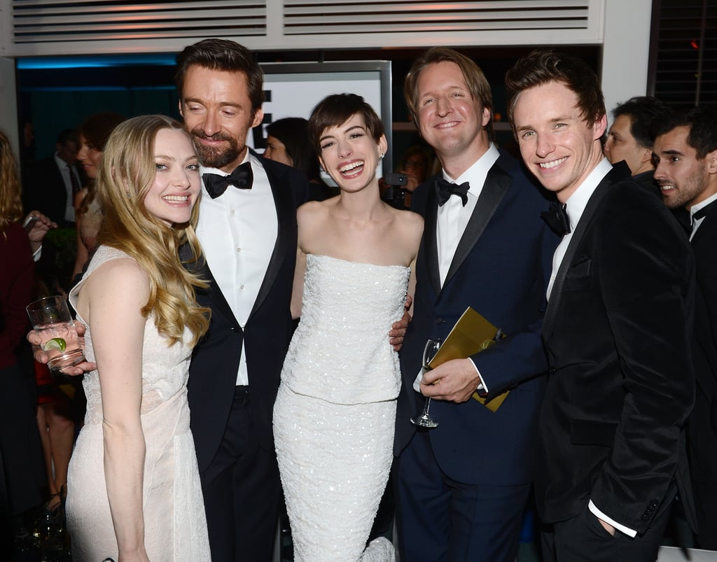The cast of Les Misérables got together inside NBC's big bash.