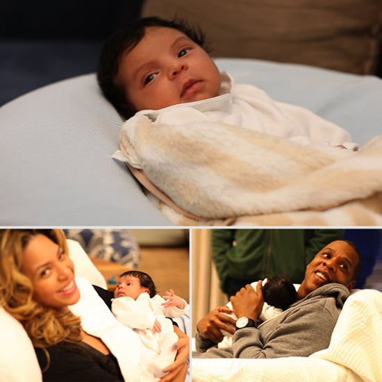 Beyoncé and Jay-Z unveiled baby Blue Ivy's first photos on their own family website.