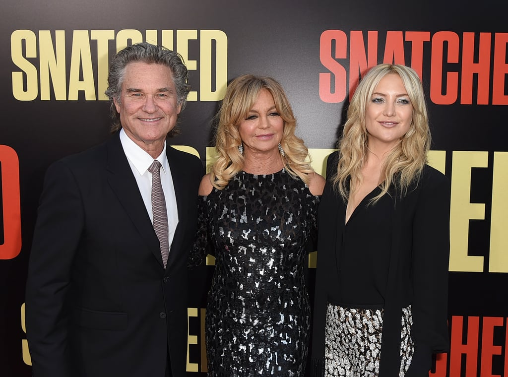 """Goldie Hawn was surrounded by her loved ones at the LA premiere of her new film, Snatched, on Wednesday evening. Goldie — who was recently honoured with a star on the Hollywood Walk of Fame along with Kurt Russell — was her usual bubbly self as she practically floated down the red carpet with her longtime love and daughter Kate Hudson. The trio rocked coordinating outfits, and Goldie and Kate showed off their close bond as they hugged for the cameras. The premiere also brought out Goldie's costar, Amy Schumer, and Kate's boyfriend, Danny Fujikawa.   Goldie recently opened up about her 34-year-long romance with Kurt in an interview with People, saying she felt an instant connection with him on the set of their 1984 romantic war drama, Swing Shift. Even though the two have never officially tied the knot, they're still one of Hollywood's strongest couples, which Goldie credits to family, fun, laughs, and sex. """"If you don't nurture that, and remember, you're done,"""" she said."""
