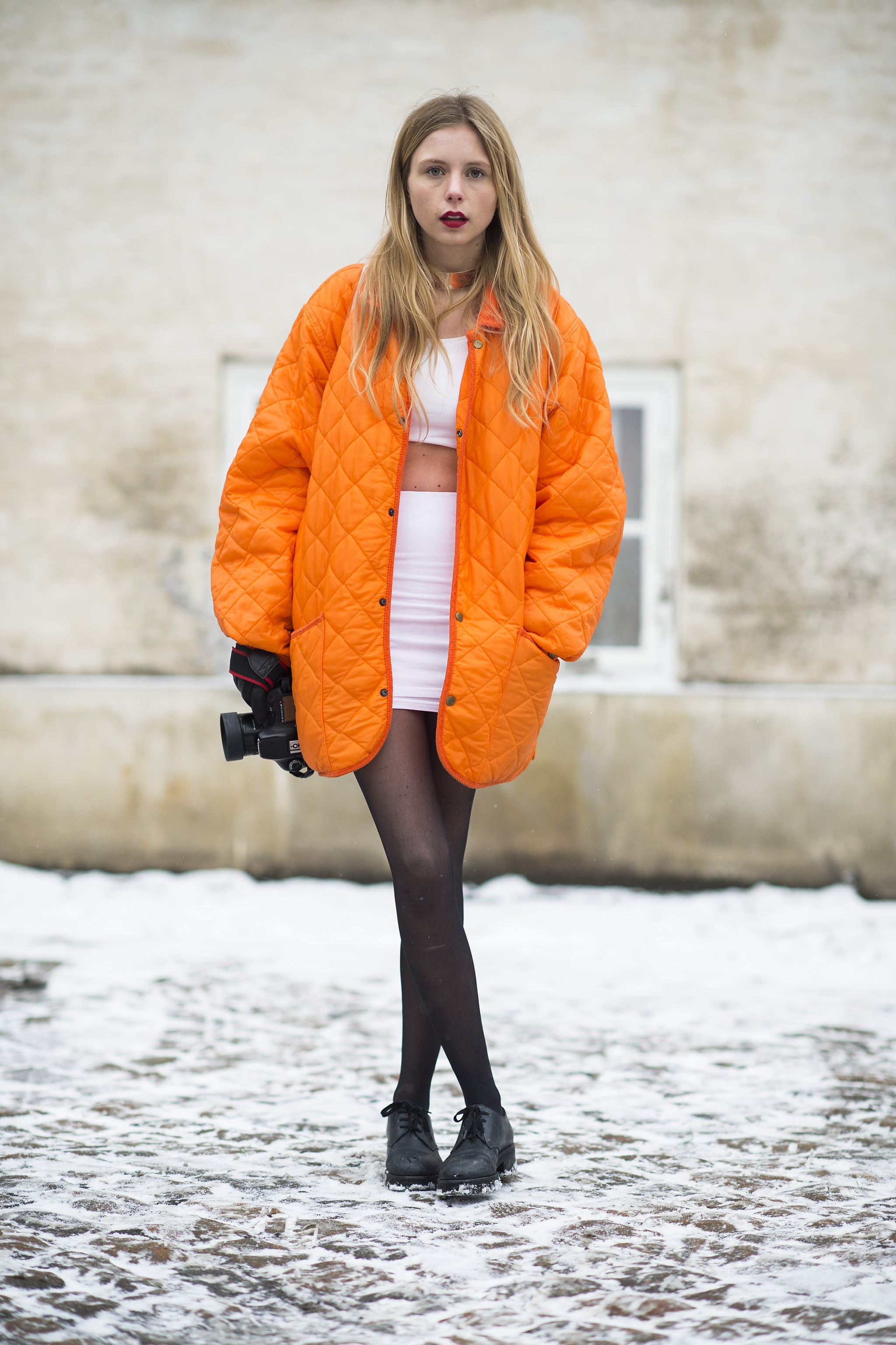 For the fashion fearless, a crop top is surefire way to beat the Winter doldrums. Source: Le 21ème   Adam Katz Sinding