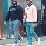 While in Los Angeles, Tyler styled a pink quilted jacket with a classic bucket hat and teal pants like an absolute pro.