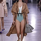 Wearing a One-Piece and a Trench Coat During the Bottega Veneta Show