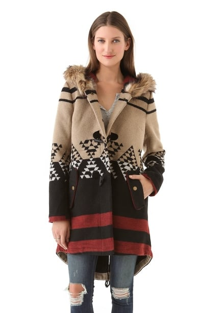An earthy, cozy coat is a must for every bohemian princess. Help her stay warm (and look cool) with BB Dakota's Arlet Colorblock Pattern Coat ($115).