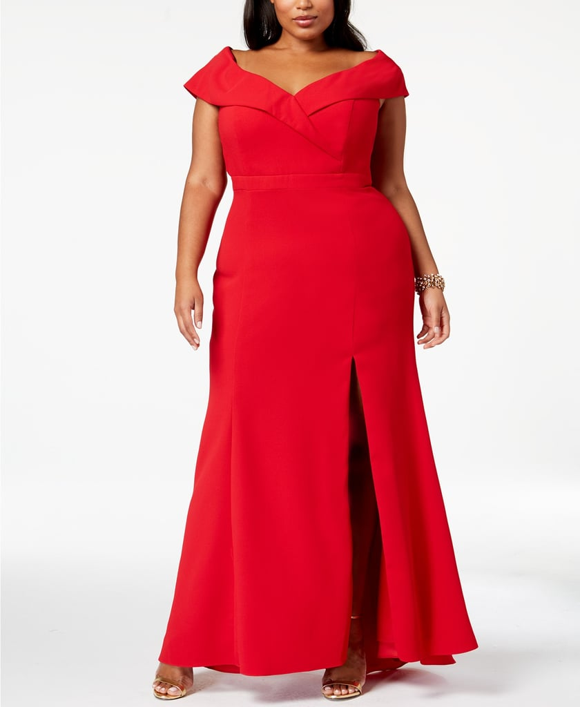 4d39174f4eda Xscape Plus Size Off-The-Shoulder Slit Gown | Kylie Jenner Red Dress ...