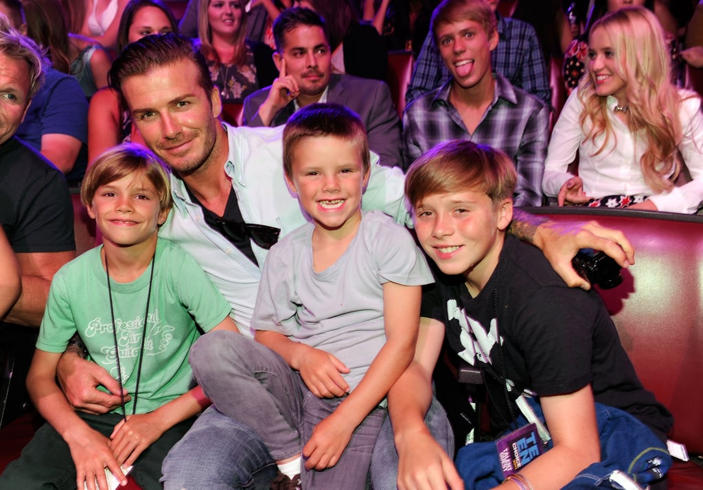 David and his boys attended the Teen Choice Awards in August 2011.