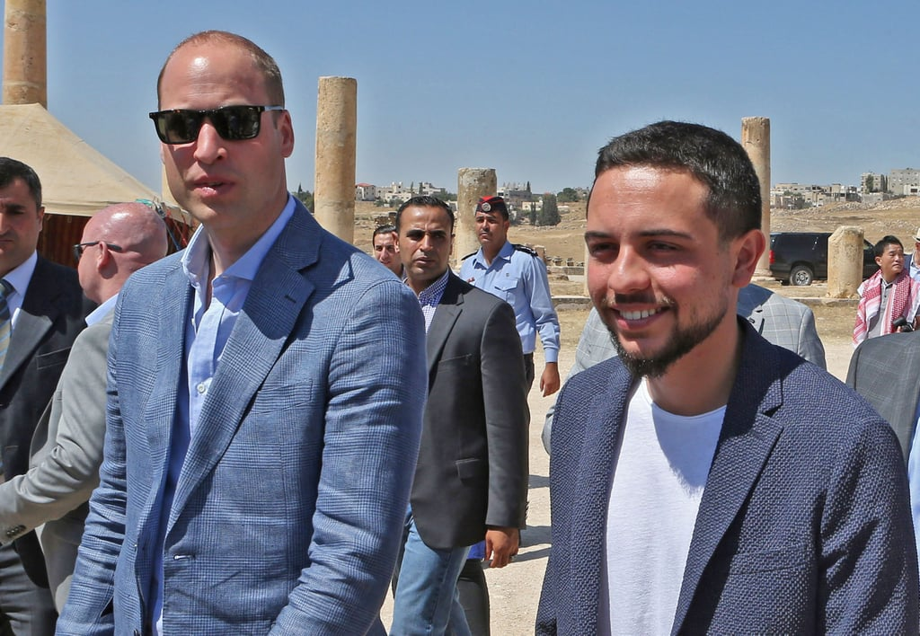 "Prince William officially kicked off his five-day tour of the Middle East over the weekend, and from the looks of it, he's having a blast. On Sunday, William was welcomed to Jordan by 23-year-old Crown Prince Hussein, and can I just quickly point out that he is hot? Hussein is the son of Queen Rania and King Abdullah II and will be serving as William's host throughout his two-day visit in the country. ""[William] is very pleased that this visit will allow him to begin a relationship with the Crown Prince Hussein that will be important in the decades to come,"" William's spokesman, Jason Knauf, said in a statement to People. Fun fact: William and Hussein were both students at the Royal Military Academy Sandhurst in England. William attended a reception at the British ambassador to Jordan's residence in Amman, and according to Hello Magazine, Save the Children's Rania Malki told William that she knew the house where Kate once lived. William reportedly replied, ""No way; she will be thrilled. She loved it here, she really did. She is very upset that I am coming here without her."" However, William made sure to honour his wife by taking a photo in the same spot Kate and her family had their photo taken back in 1986. Following his visit to Jordan, the royal will travel to Israel and the disputed territories. The historic tour marks the first time a member of the British royal family has visited Israel on behalf of the UK government.       Related:                                                                                                           See Prince William's Evolution From Royal Heartthrob to Doting Dad"
