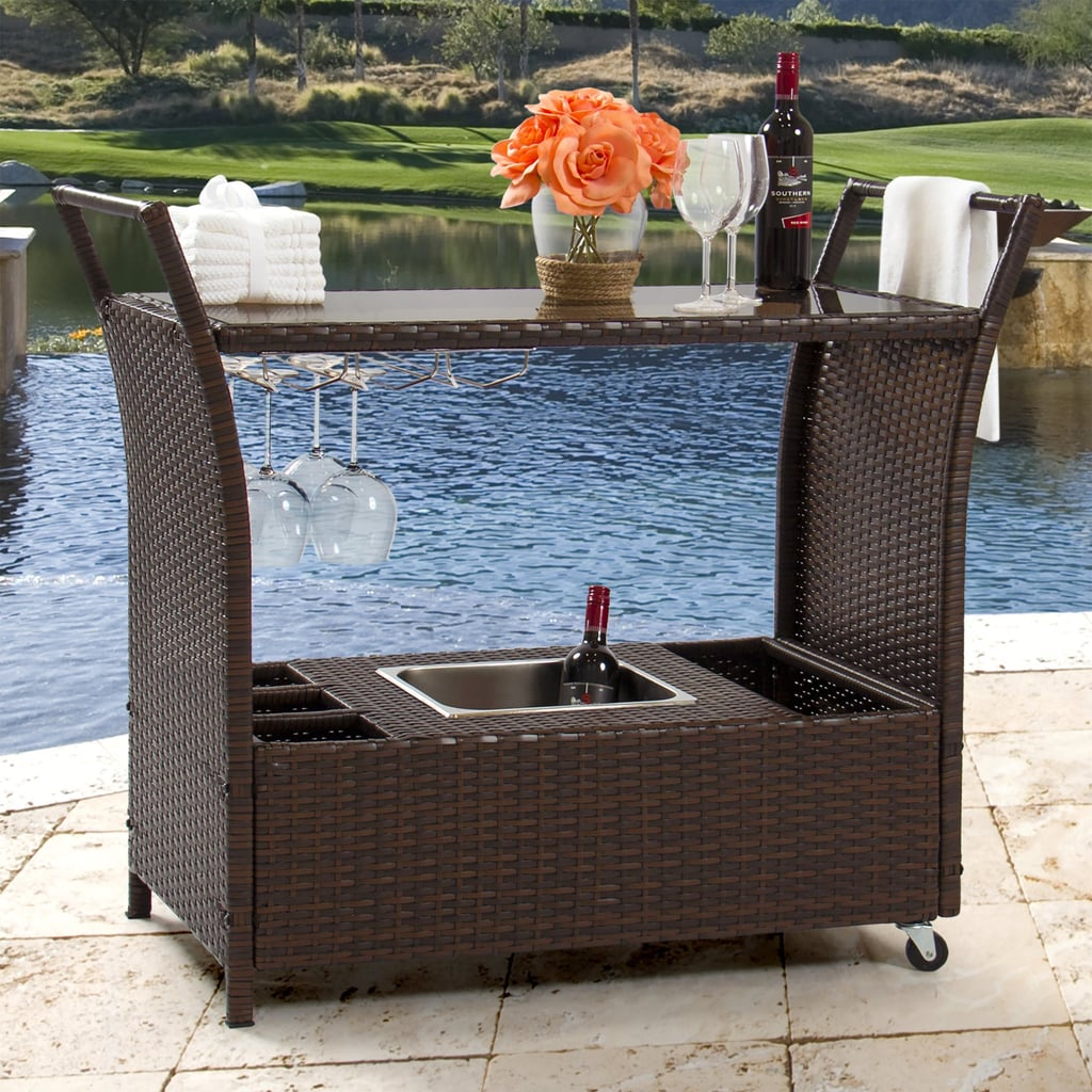 Best Choice Products Rolling Wicker Outdoor Bar Cart