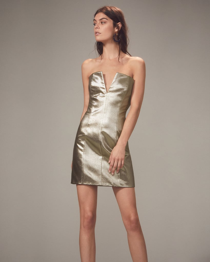 Redemption Gold Lamé Strapless Mini Dress
