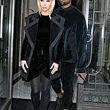 Kim Debuted Bleach Blond Hair While Wearing a Velvet Balmain Dress
